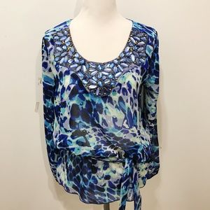 Cache Size S Blue Blouse Abstract Bead Embellished